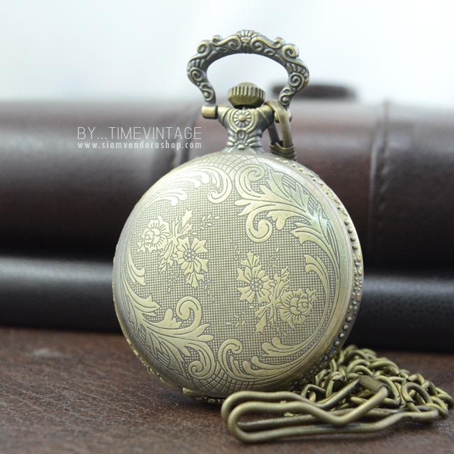 นาฬิกาพกสีทองเหลือง ลายดอกไม้ไทยเถาวัลย์สีทองเหลือง