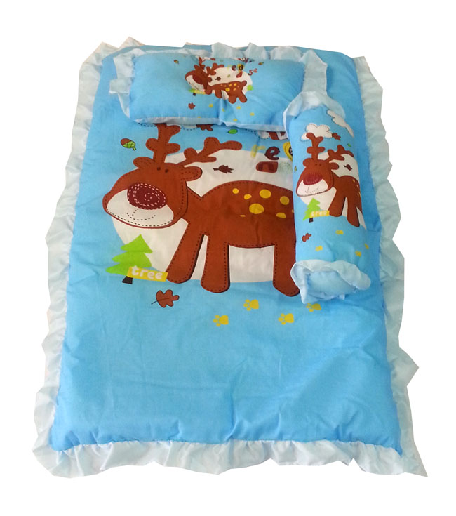 ชุดเบาะที่นอนเด็กผ้าคอตตอนเล็ก พร้อมกระเป๋าพลาสติกสำหรับพกพา (สีฟ้า)