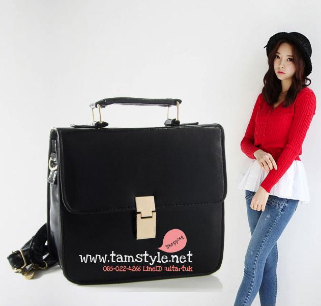 กระเป๋าแฟชั่นนำเข้าสไตล์ Celine vintage clutch เรียบหรู ดูแพง สีดำ
