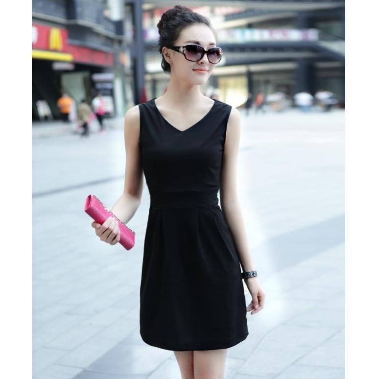 [Preorder] เดรสทำงานแฟชั่นแขนกุดคอวีเอวเข้ารูป สีดำ 2013 spring and summer new Hot V-neck Slim large size multi-color package hip bottoming Dress