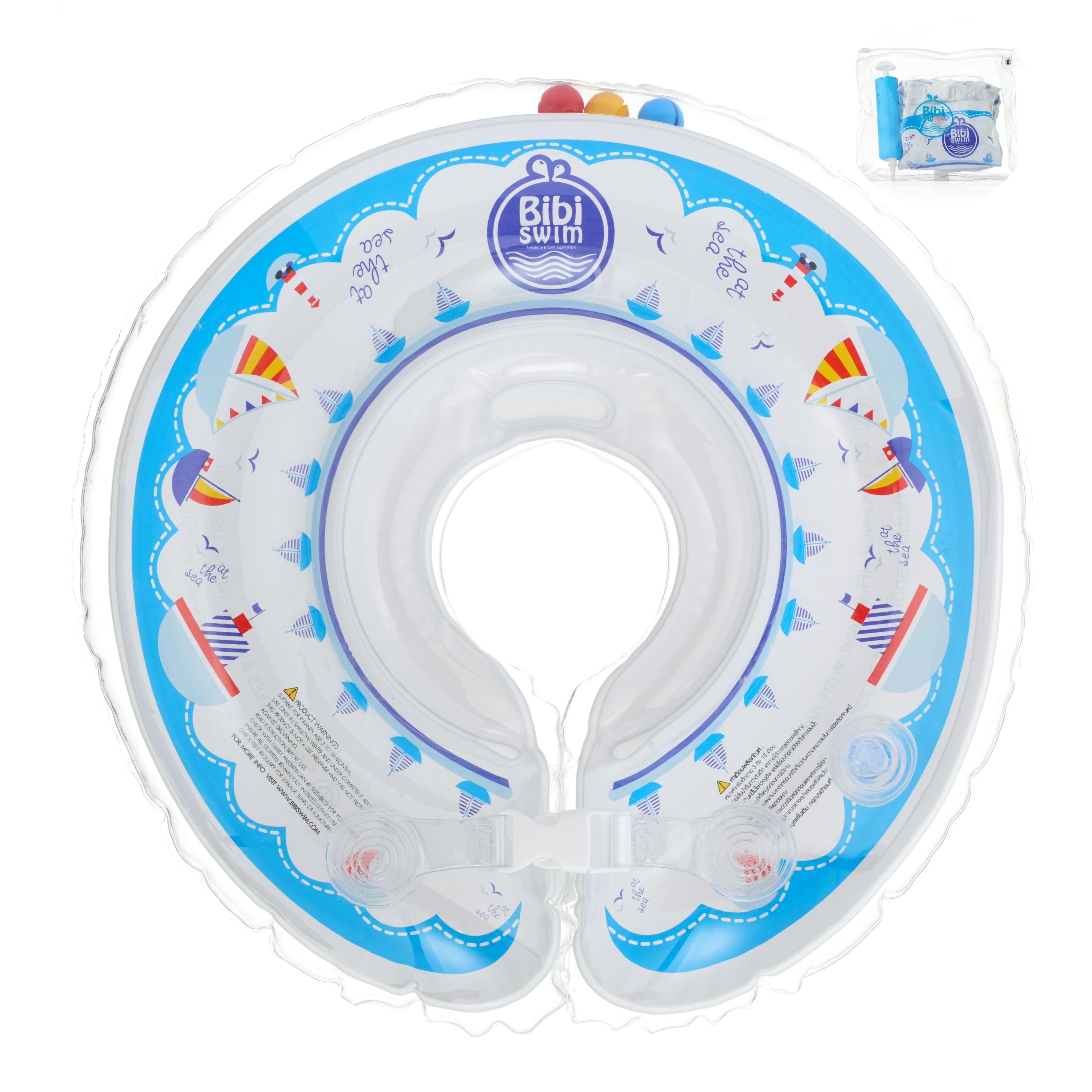 ฟ้า ห่วงยางคอ baby Neck Float ปลอดภัยที่สุด ดีที่สุด # ใช้ได้ตั้งแต่ 2 เดือน -1.5 ขวบ แถมที่สูบลมในซองกันน้ำ พกพาสะดวก