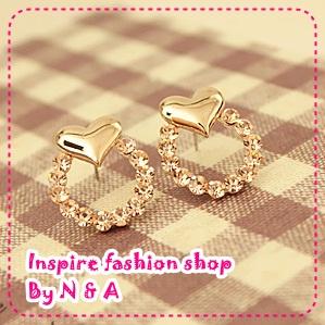 ตุ้มหูวงกลมหัวใจ Daisy flower earrings Korea Korean-plated 14K gold heart diamond earrings earrings female jewelry