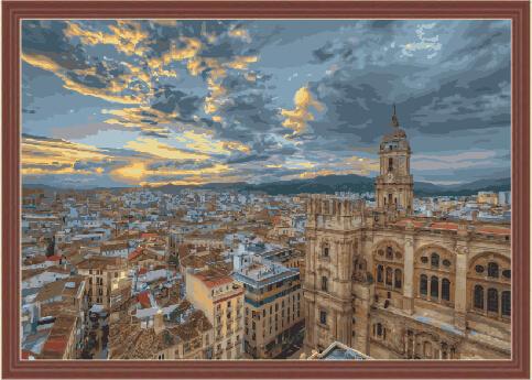 """MMC126 ภาพระบายสีตามตัวเลข """"วิววิหารในสเปน"""""""