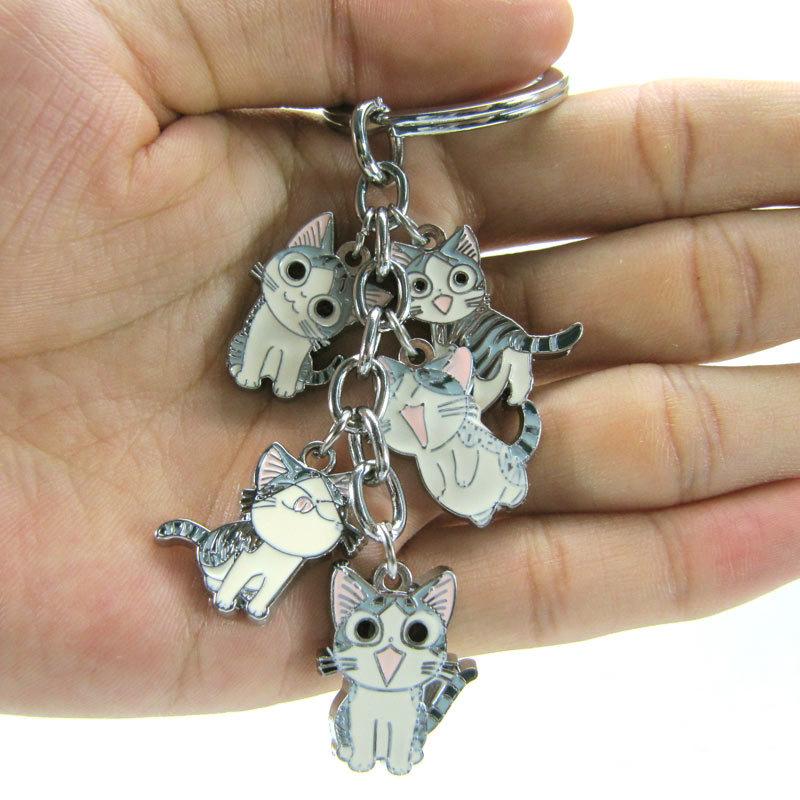 พวงกุญแจเหล็กแมวจี้ รวม 5ตัว