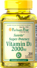 Puritan's Pride - Vitamin D3 2,000 IU 200 Softgels