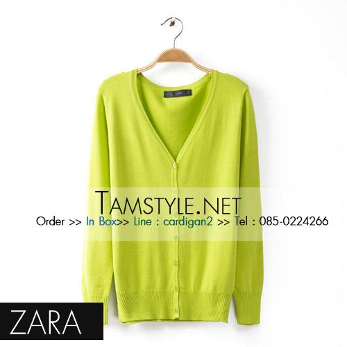 """Coat-254 เสื้อคลุมแขนยาวZara สีเขียวมะนาว ใส่สบายใส่กับอะไรก็ได้จ้า อก 36"""" ยาว 24"""" (เสื้อคลุมพร้อมส่ง)"""