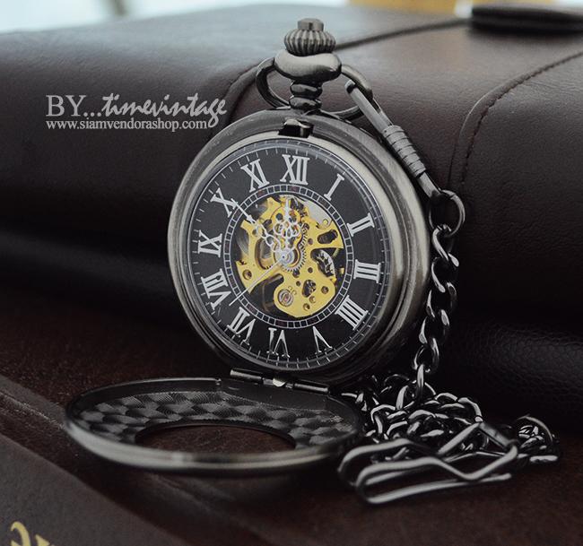 นาฬิกาพกไขลานสีเทาขัด
