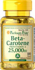 Puritan's Pride - Beta-Carotene (Provitamin A) 25,000 IU - 100 Softgels