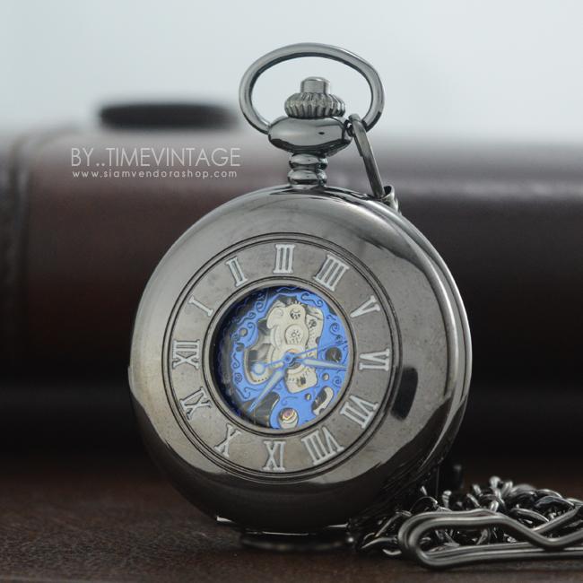 นาฬิกาพกพรีเมี่ยม ดีไซต์ Modern ตัวเรือนสีดำเงา นาฬิกาพื้นหลังเรียบโชว์เครื่องกลไก