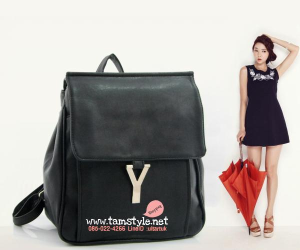 กระเป๋าถือ+สะพาย+เป้ หนังPUนิ่มเนื้อดี แต่งอะไหล่สไตล์อีฟแซง-ysl สีดำ กระเป๋าแฟชั่นพร้อมส่ง