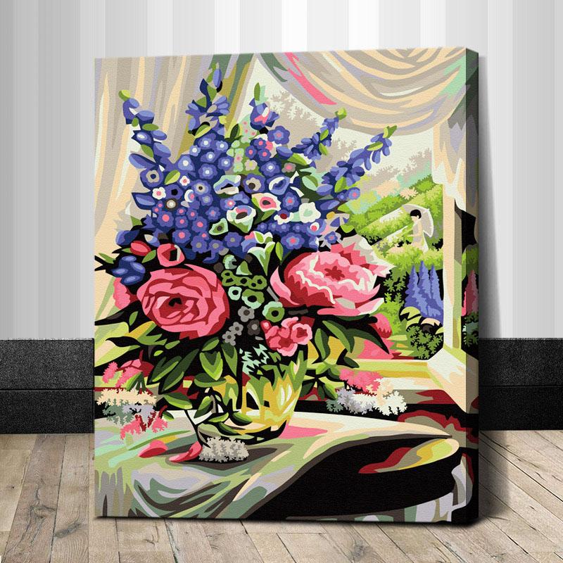"TG286 ภาพระบายสีตามตัวเลข ""ดอกไม้แดงม่วงในห้อง"""