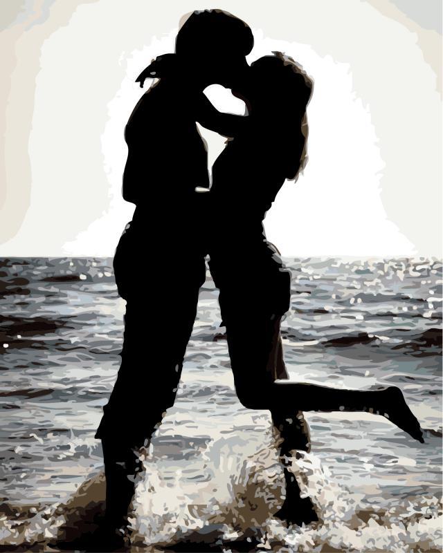 """MG758 ภาพระบายสีตามตัวเลข """"ความรักริมทะเล"""""""
