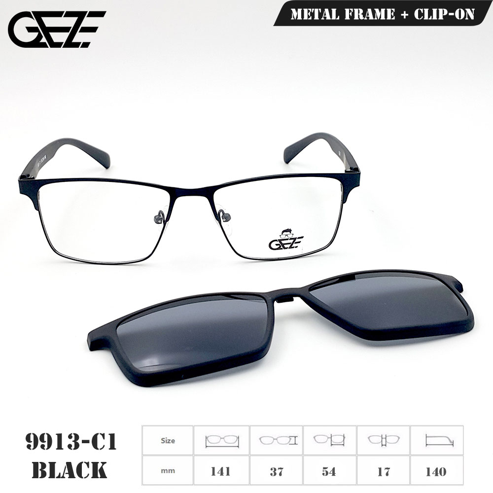 กรอบแว่นตากรองแสง ฟรี คลิปออนกันแดดสีดำ Polarized GEZE 1ClipOn รุ่น 9913 สีดำ ป้องกันแสงแดด รังสี UVA UVB UV400 ลดอาการแสบตา ได้อย่างดีเยี่ยม