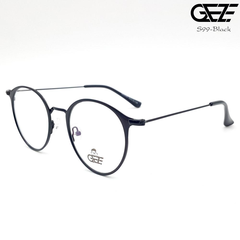 แว่นตาทรงกลม โลหะ Vintage น้ำหนักเบา ใส่สบาย GEZE รุ่น S99 สีดำ อายุการใช้งานยาวนาน ด้วยโลหะพิเศษ