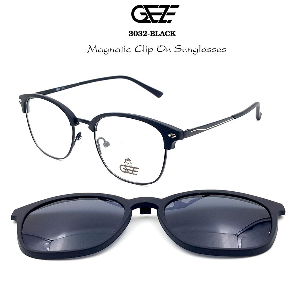 กรอบแว่นตากรองแสง ฟรี คลิปออนกันแดดสีดำ Polarized GEZE 1ClipOn รุ่น 3032 สีดำ ป้องกันแสงแดด รังสี UVA UVB UV400 ลดอาการแสบตา ได้อย่างดีเยี่ยม