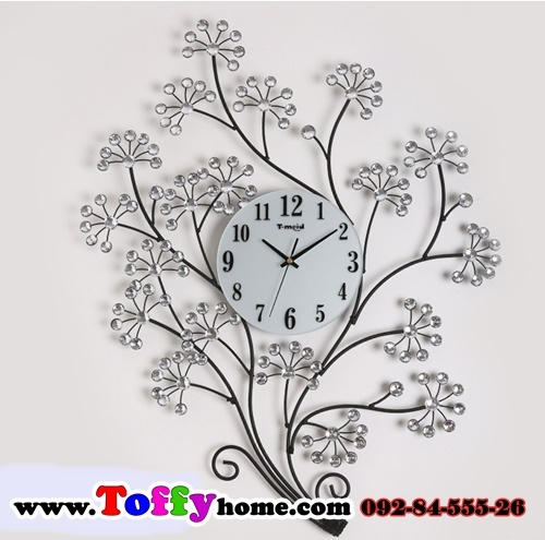 นาฬิกาติดผนังต้นดอกไม้ประดับคริสตัลเงินสุดเก๋ราคาถูกๆของแต่งบ้านสไตล์วินเทจ ขนาด 21.5*60*80 cm.