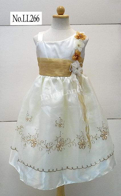 ชุดราตรีเจ้าสาวสำหรับเด็กหญิงใส่ออกงานแต่งดอกไม้ไหล่เฉียง LL266