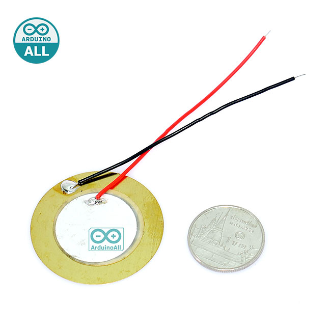 Piezo wire buzzer 35mm ลำโพงบัซเซอร์ เปียโซ ขนาด 35mm พร้อมสายไฟบัดกรีแล้ว