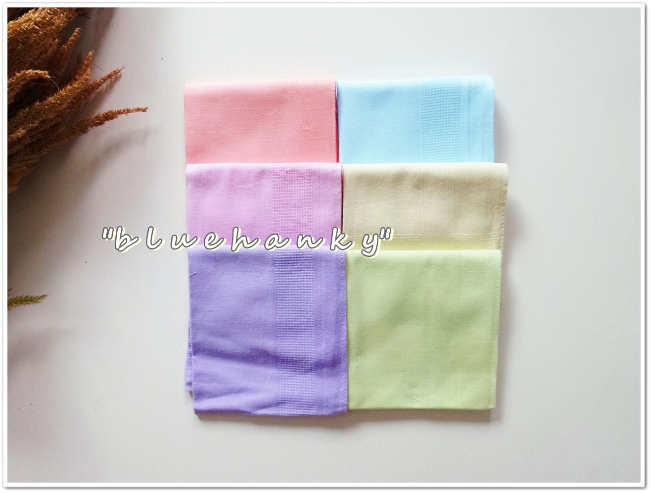 ผ้าเช็ดหน้าสีพื้นโทนสีพาสเทล 6 ผืน
