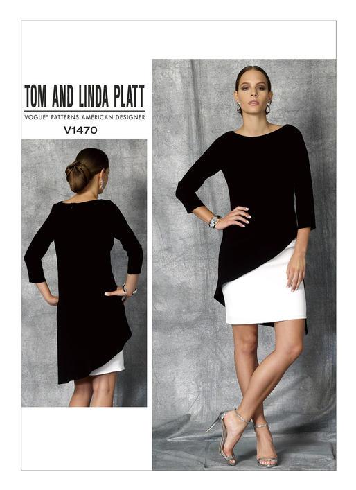 แพทเทิร์นตัดเดรสสตรี งานดีไซน์เนอร์ Vogue 1470E5 ไซส์ใหญ่ Size: 14-16-18-20-22 (อก 36-44 นิ้ว)