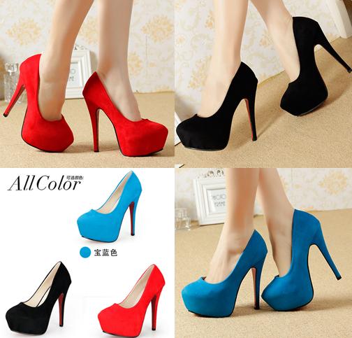 รองเท้าส้นสูง ไซต์ 34-40 สีดำ แดง ฟ้า