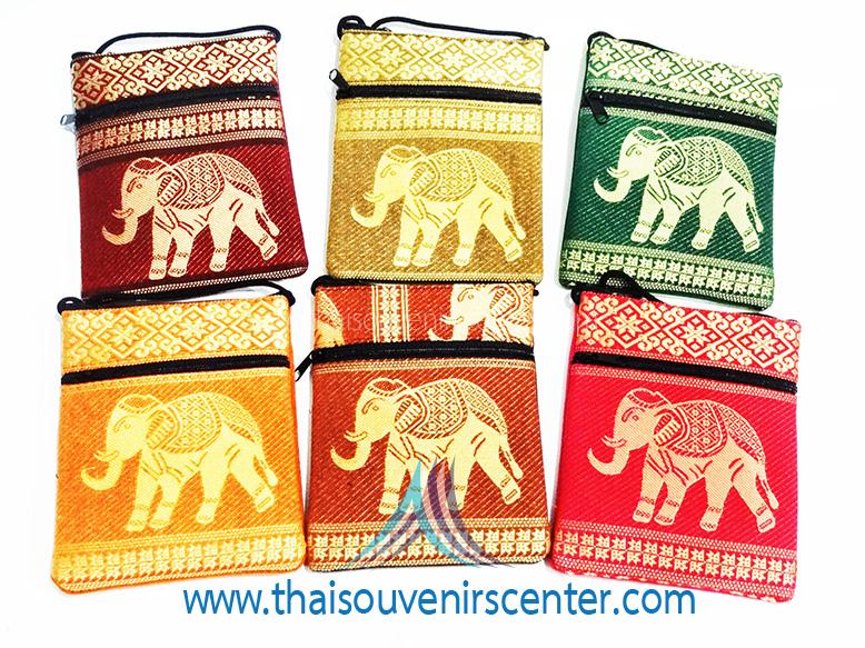 ของฝากจากไทย กระเป๋าสะพายลายช้างมินิ (แพ็ค 6 ชิ้น คละสี)