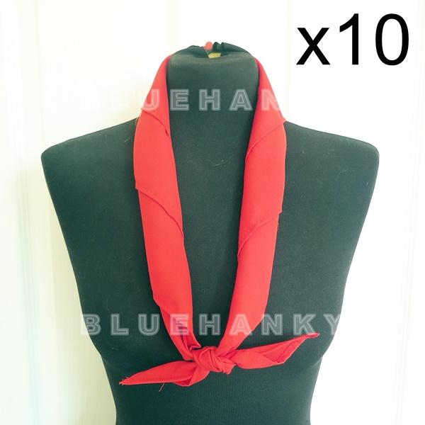 10ผืน สีแดง สามเหลี่ยม100ซม ลูกเสือ