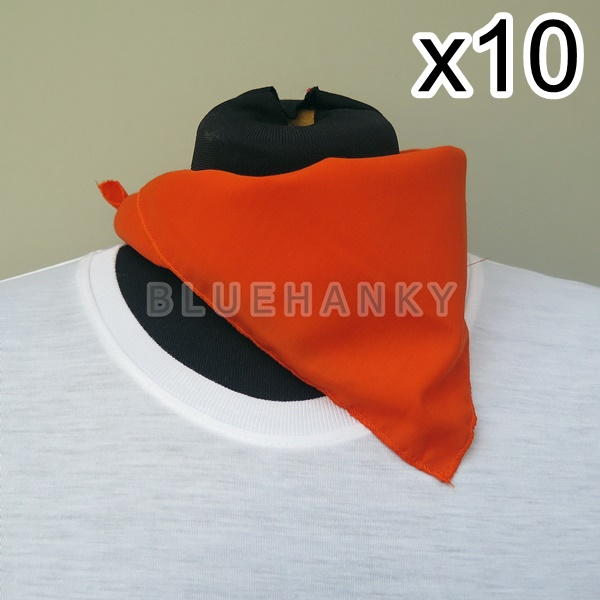 10ผืน สีส้มเข้ม สี่เหลี่ยม53ซม ผ้าพันคอกีฬาสี ผ้าเช็ดหน้าผืนใหญ่