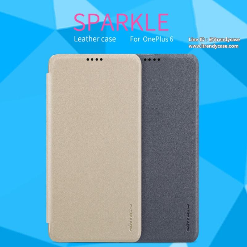 OnePlus 6 - เคสฝาพับ Nillkin Sparkle leather case แท้