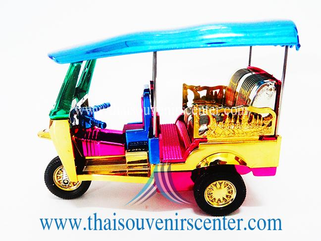 ของที่ระลึกไทย รถตุ๊กตุ๊กจำลอง Size M แบบที่ 38 หลังคาสีเขียว