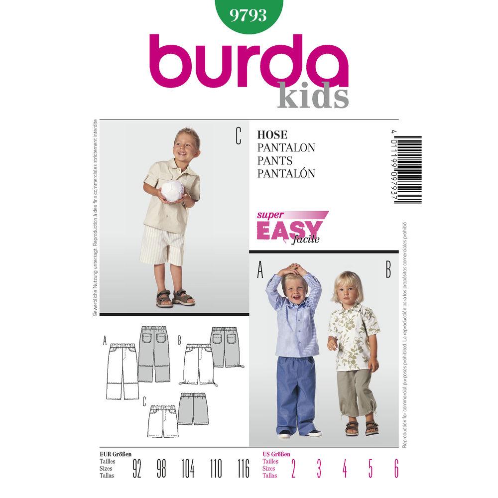 แพทเทิร์นตัดกางเกง ยี่ห้อ Burda Kids (9793) ไซส์ 2-6 ขวบ (สูง 92-116 cm.)