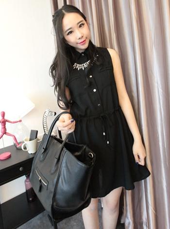 (สีดำ)ชุดเดรสแซกสั้นแฟชั่นเกาหลี คอปก แขนกุด กระดุมผ่าหน้า กระเป๋าจริง ผ้าชีฟอง เอวเชือกผูกตามรูป (ใหม่ พร้อมส่ง) ร้าน Ladyshop4u