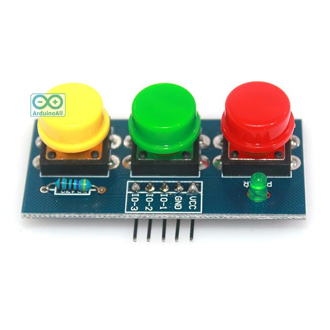 โมดูลสวิตช์กดติด/ปล่อยดับ 3 ปุ่ม 3 สี สำหรับ Arduino