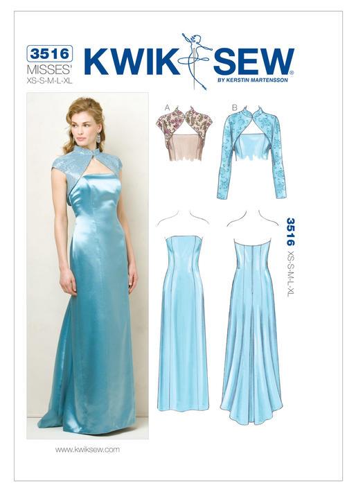 แพทเทิร์นตัดชุดราตรี เสื้อคลุม Kwik Sew 3516 Size: XS-S-M-L-XL (อก 31.5 - 45 นิ้ว)