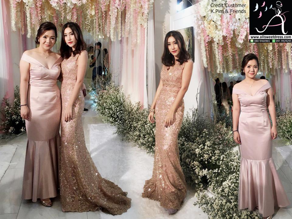 รีวิวชุดไปงานแต่งงานในธีมสีชมพู pinkgold สวยหรูต่างสไตล์ทั้ง 2 คน จากน้องพิมกับเพื่อนที่มาใช้บริการเช่าชุดออกงานของ allsweetdress ฝั่งธนค่ะ