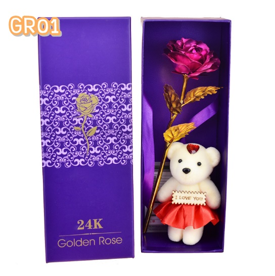 GR01P ดอกกุหลาบสีชมพูเข้ม
