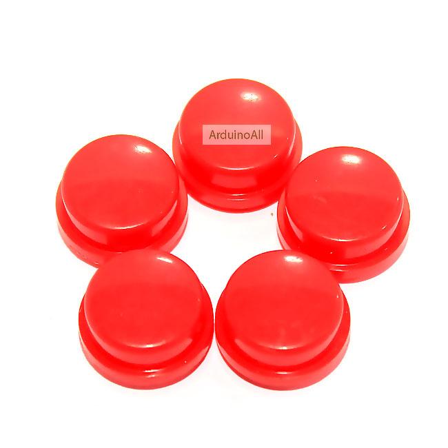 ปุ่มกด สำหรับสวิตช์ ขนาด 12x12mm จำนวน 5 ชิ้น สีแดง