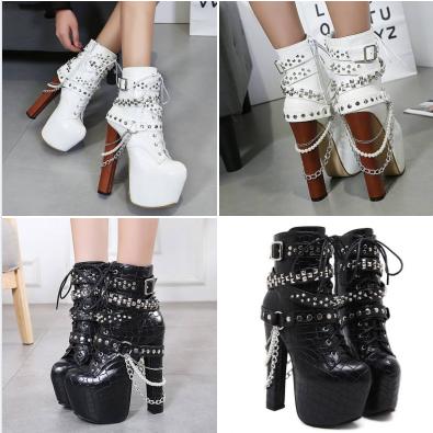 รองเท้าบูท ไซต์ 34-40 สีขาว/ดำ