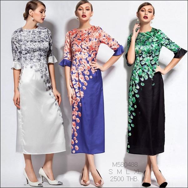 M580488 / S M L XL / 2015 Fashion dress พรีออเดอร์เดรสแฟชั่นงานเกรดยุโรป สวยดูดีมีสไตล์ นางแบบใส่ชุดจริง เป๊ะเว่อร์!