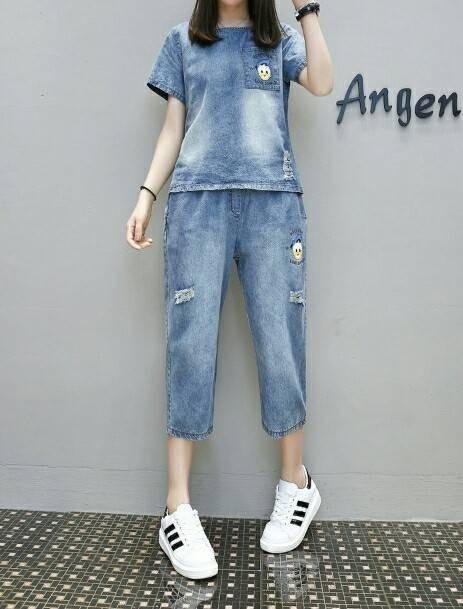 ชุดสาวอวบ set เสื้อ+กางเกงยีนส์ ผ้านิ่ม เอวยางยืด ชิค ๆ ชิว ๆ