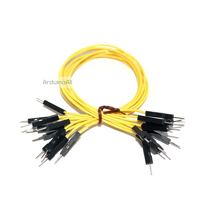 สายไฟจัมเปอร์ 20cm แบบเดียว ผู้-ผู้ สีเหลือง จำนวน 10 เส้น