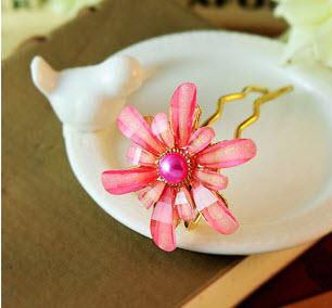 ปิ่นประดับผมแฟชั่นดอกไม้คริสตัลชมพูทอง