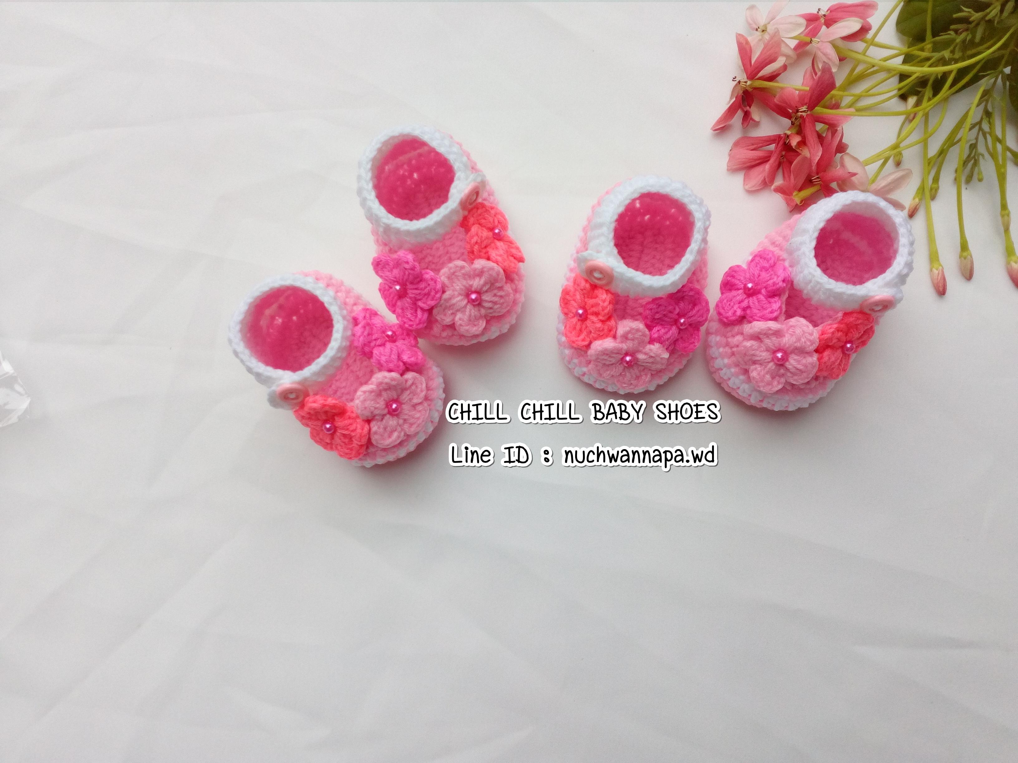 รองเท้าเด็กติดดอกไม้สีชมพู ขนาด 1-3 เดือน