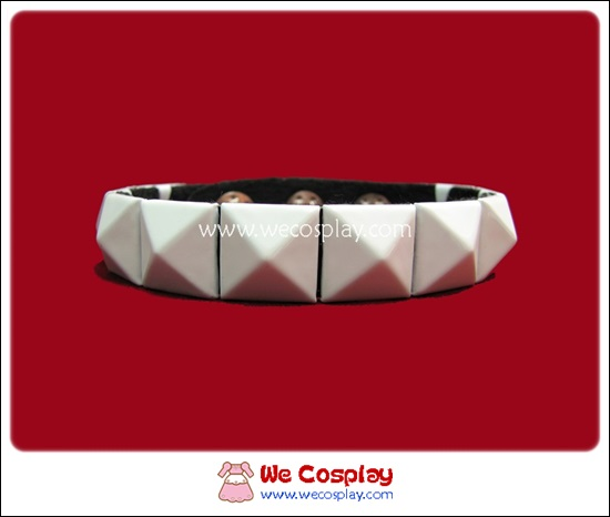 สร้อยข้อมือพังค์ Punk Wristband ตอกหมุด 1 แถว สีขาว
