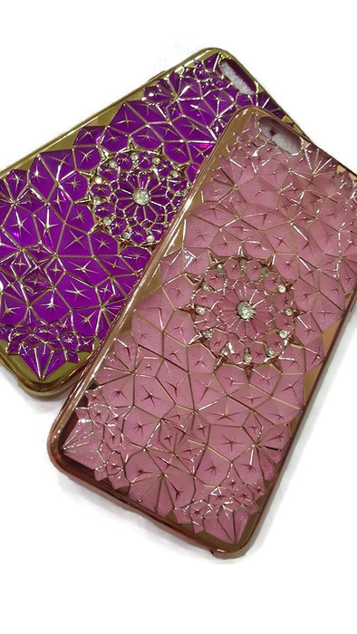 Case iphone 6 Plus / 6s Plus (TPU Case) สีชมพู ประดับลายทันสมัยและฝังเพชร