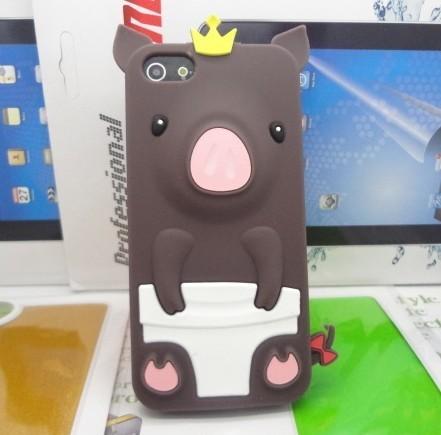 เคสไอโฟน 5/5s/SE (Case Iphone 5/5s/SE) เคสซิลิโคน หมูน้อย สีน้ำตาล