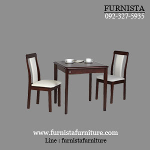ชุดโต๊ะอาหาร 2 ที่นั่ง ดีไซน์มีขอบ พนักพิงเบาะนุ่มนั่งสบาย (CONDO F-SET)