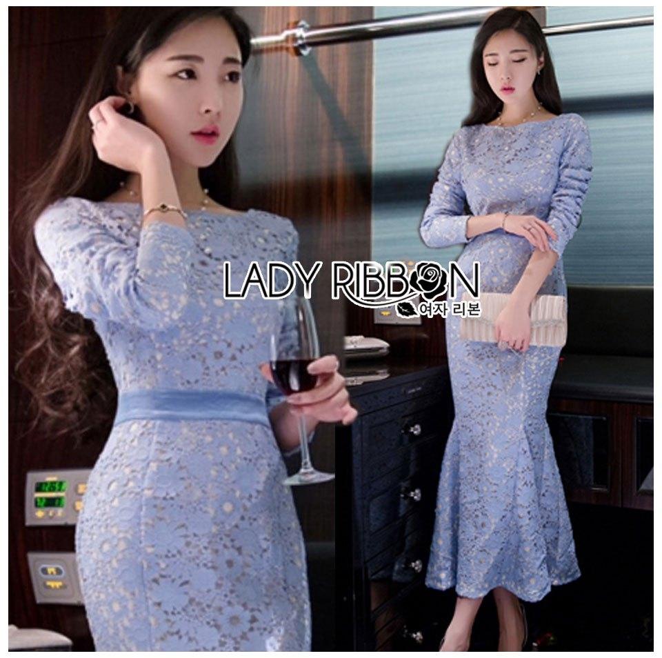 เดรสเกาหลี พร้อมส่ง เดรสผ้าลูกไม้สีฟ้าไลแล็ก
