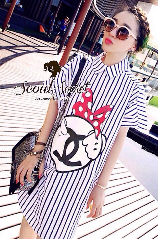 พร้อมส่ง Stripy CC Red dot Bow Print Dress Shirt เดรสเกาหลี