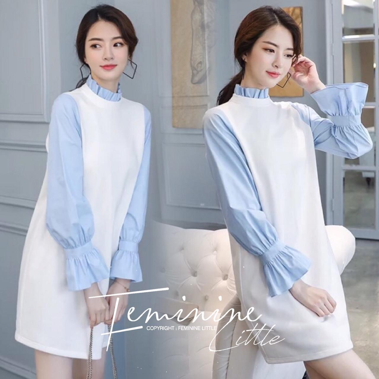 ชุดเดรสเกาหลี พร้อมส่ง เดรสผ้าไหมพรม ทรงสวย